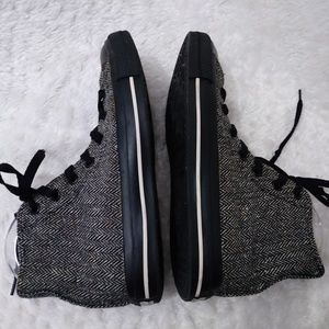 CONVERSE Chuck Hi Top Black Grey Fabric Tweed